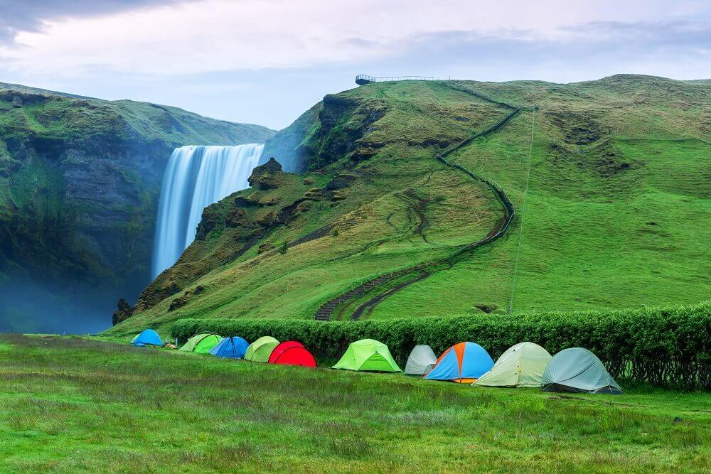 Camping in Skógafoss, Iceland before the two-day, 25 Km Fimmvörðuháls Pass.