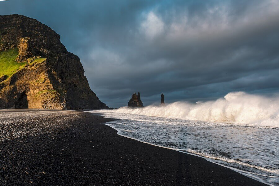 Black sand beaches and surk at Vik in Iceland