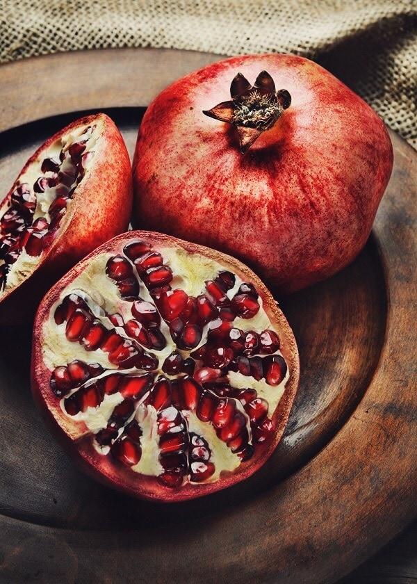 freshly cut pomegranate