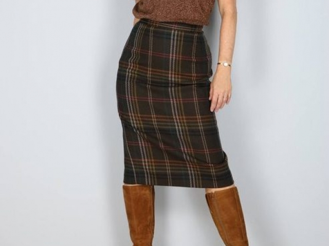 1960's Skirt - Plaid Midi Pencil Skirt