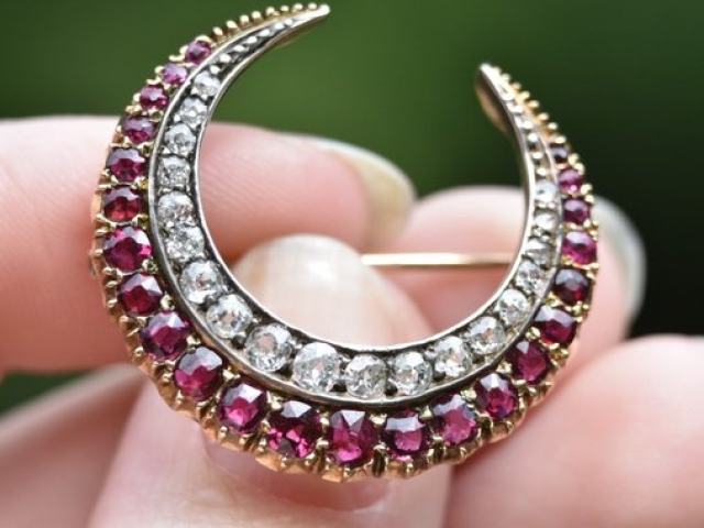 Antique Victorian Ruby and Diamond Crescent Shaped Brooch