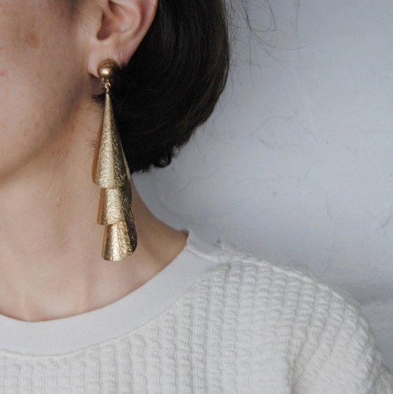 HUGE stamped gold dangle earrings -- vintage, oversized, clip on, metal tassel, floral, statement, drop, chandelier, 1980s