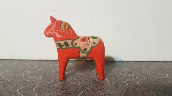 Scandinavian Modern Hand Painted Wooden Dala Horse Figurine