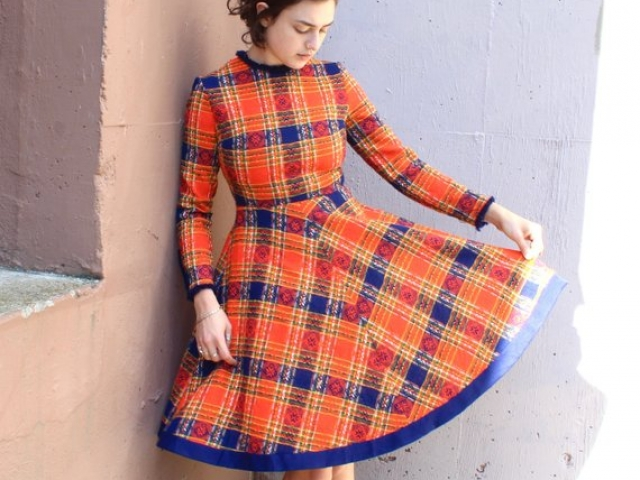 Vintage 1960s Tartan Plaid Dress