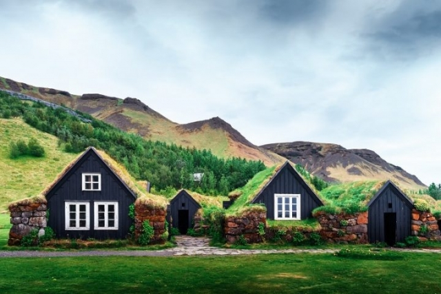 Traditional Icelandic houses with grass on roof