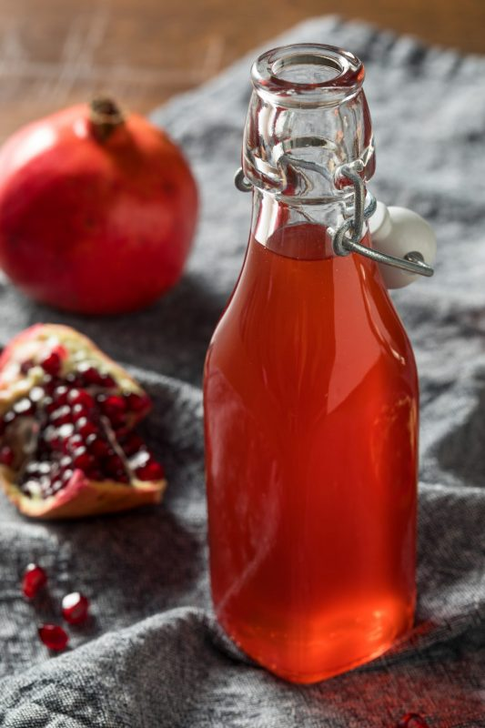 bottle of pomegranate syrup