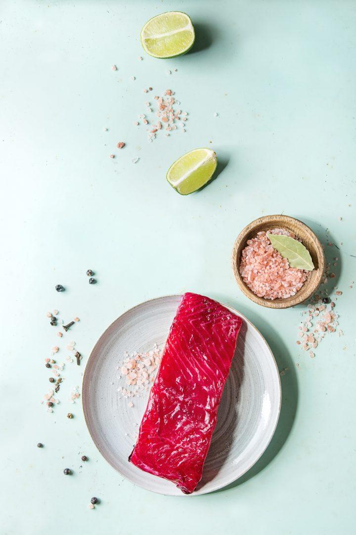 smoked salmon on plate