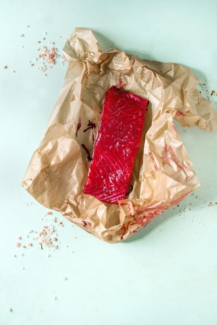 smoked salmon on crumpled butcher paper