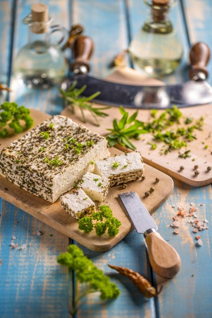homemade cheese infused with fresh herbs