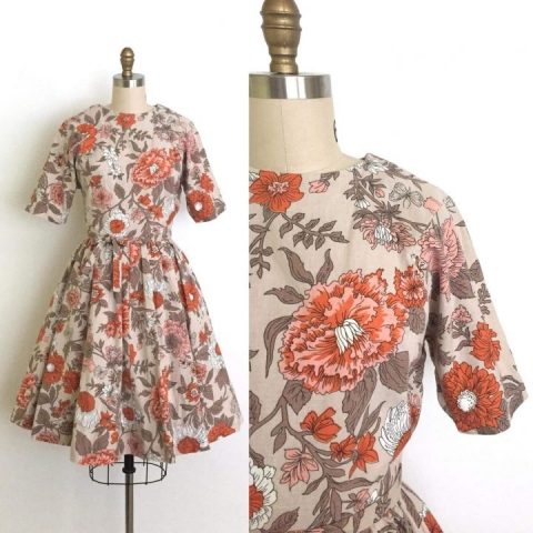 vintage 1950s dress   floral print dress