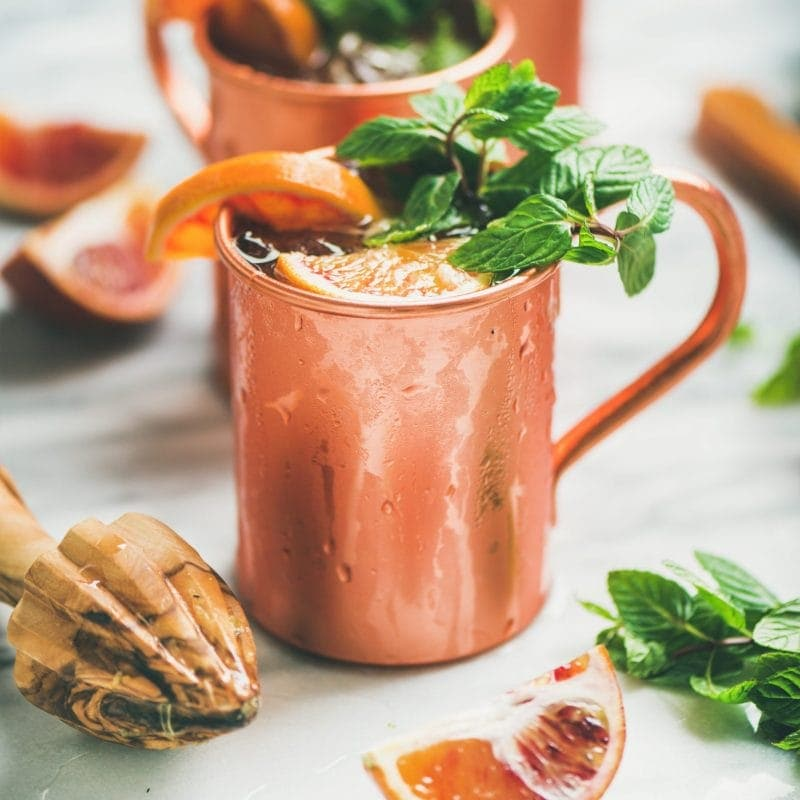 Blood orange Moscow mule alcohol cocktails