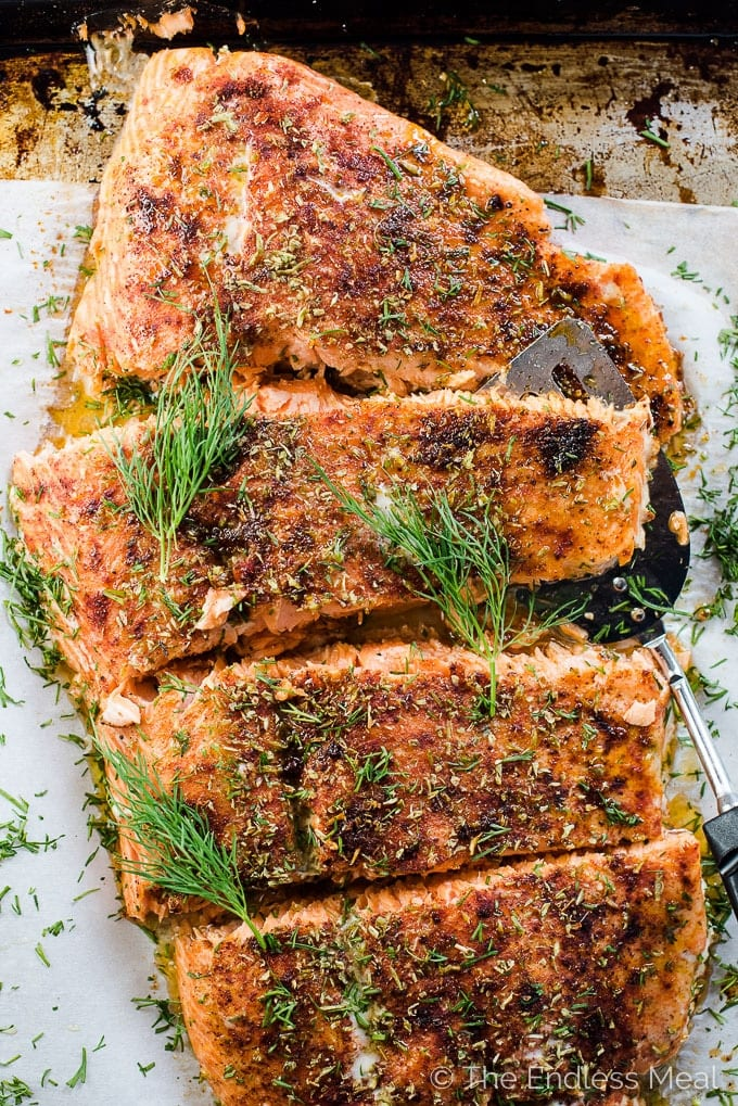 herb and spice crusted trout or salmon fillet