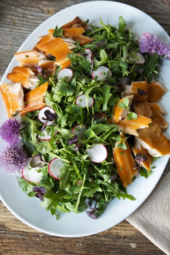 salad with smoked trout and greens
