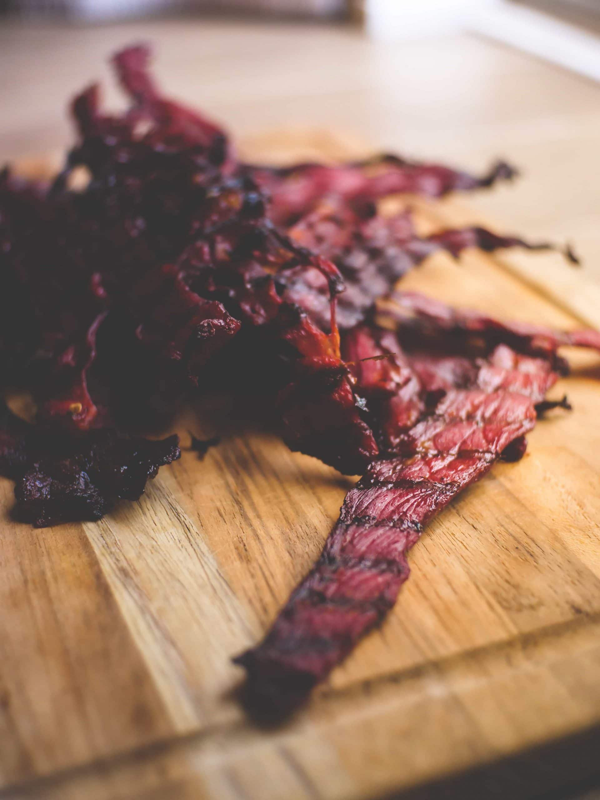 a pile of homemade smoked beef jerky