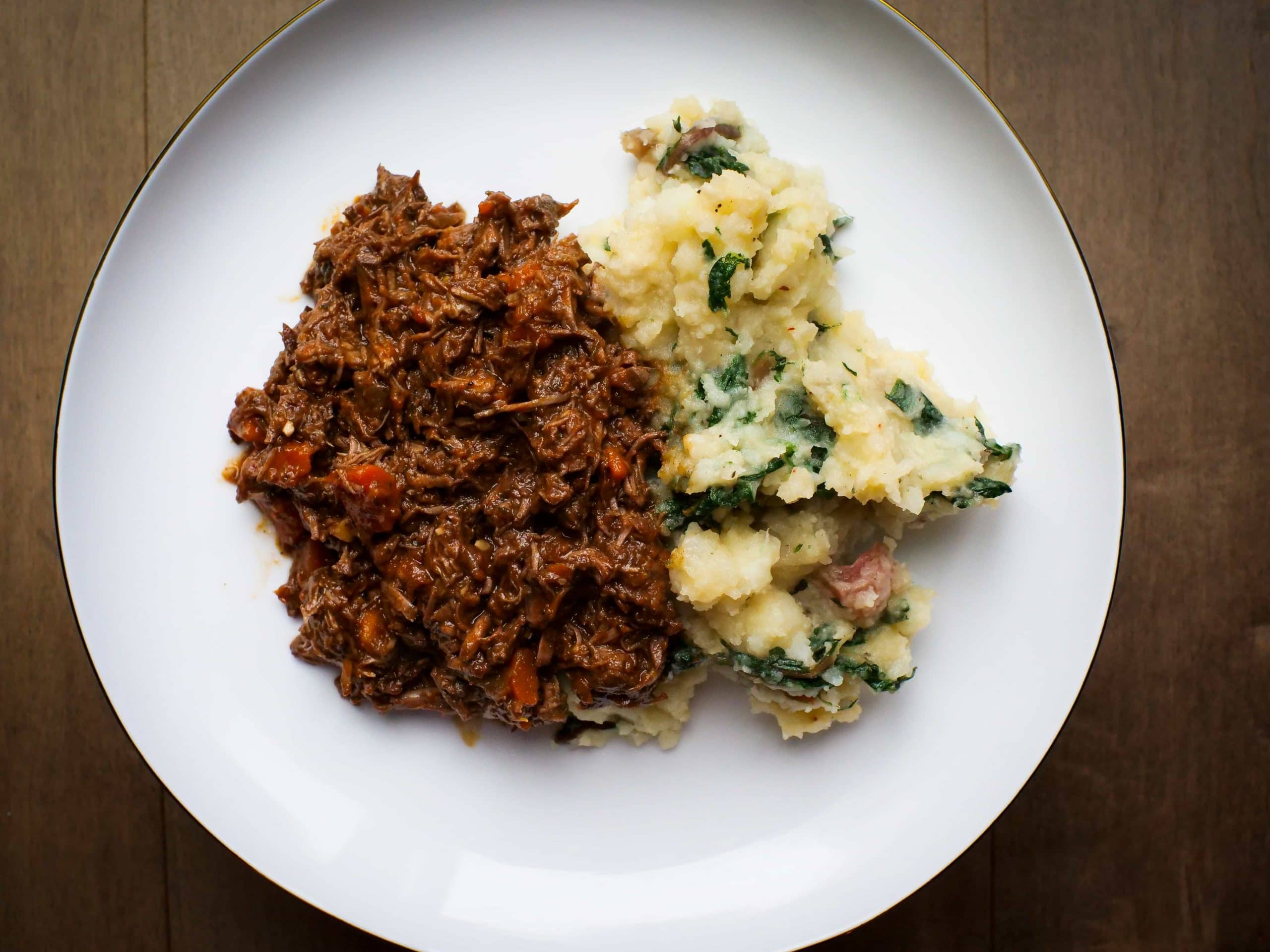 moose shoulder ragu sauce on plate served with blitva potato recipe