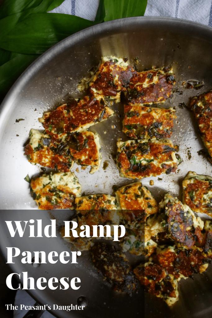 wild ramp paneer cheese on pan