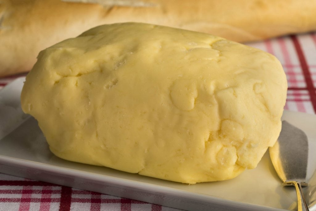 a big block of raw homemade cultured butter