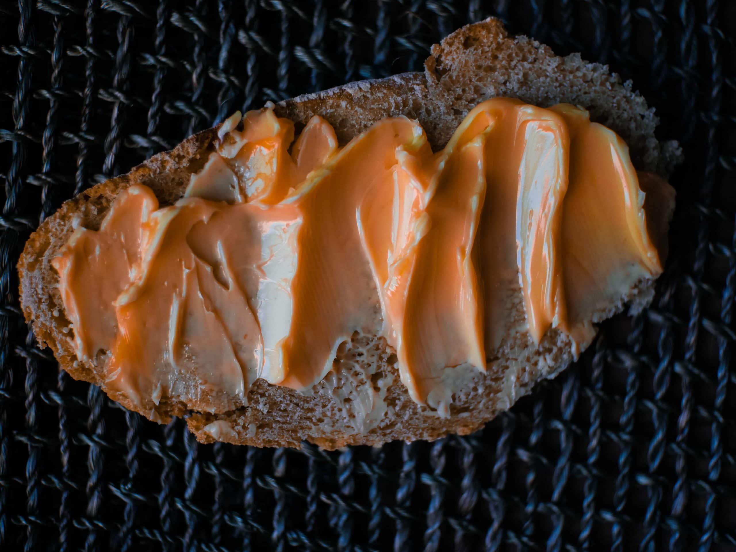 raw cultured butter on einkorn sourdough bread