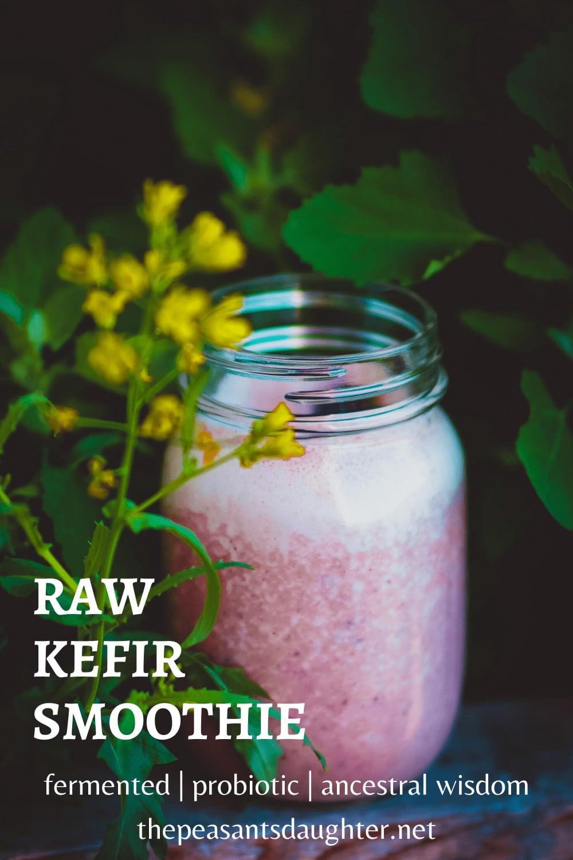 mason jar full of kefir and berry smoothie