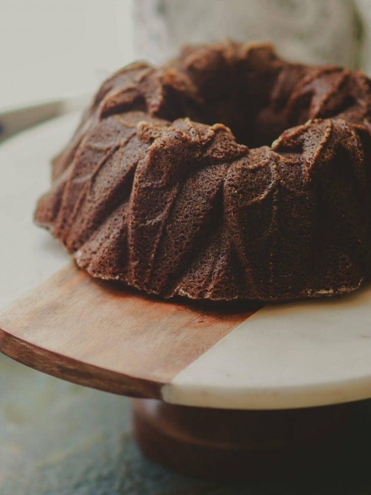 Pumpkin Spice Bundt Cake on cake stand